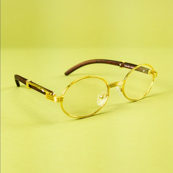 3e62957ec61 Vintage Gold Frames Clear Wooden Oval Eyeglasses. M 5be72721aa57192571e0df9d
